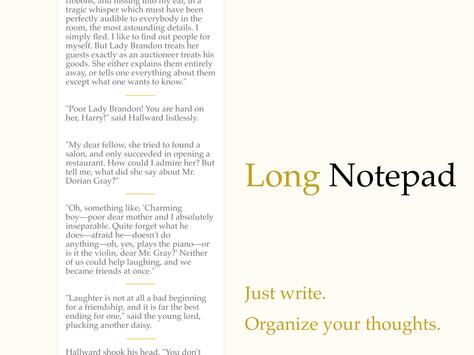 Long Notepad - Organize your thoughts.